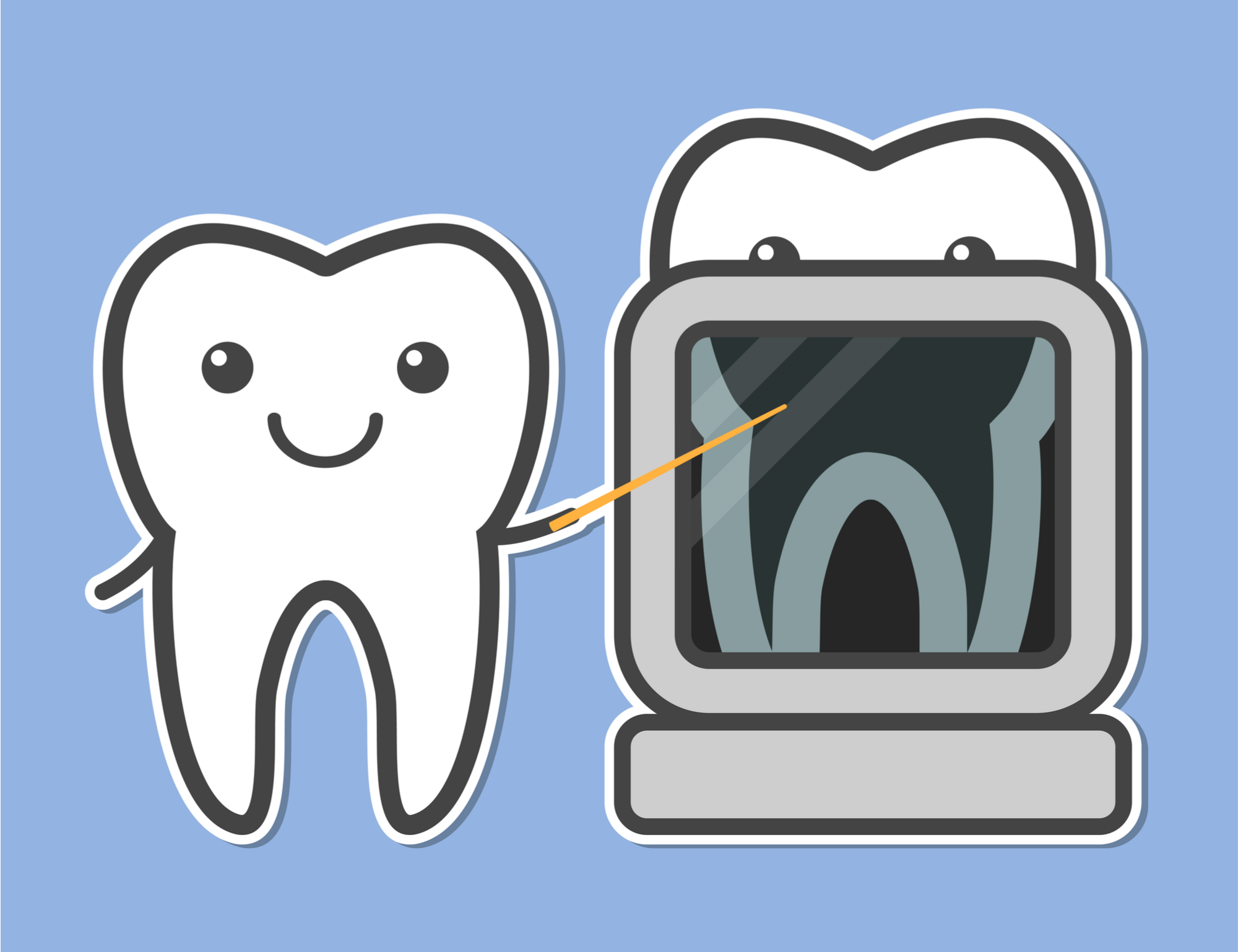 Cartoon Tooth Looking at Tooth X-ray
